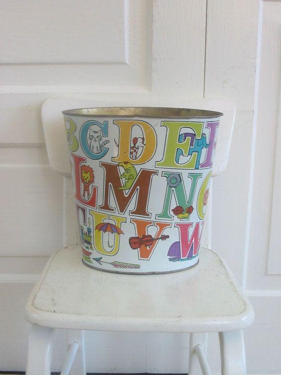 Vintage Metal Trash Can Children Nursery Bedroom Letters Alphabet Waste Basket