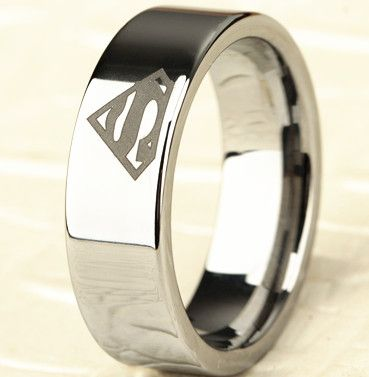 8mm Bridal Mens Superman Silver Tungsten Engagement Ring Ceremony