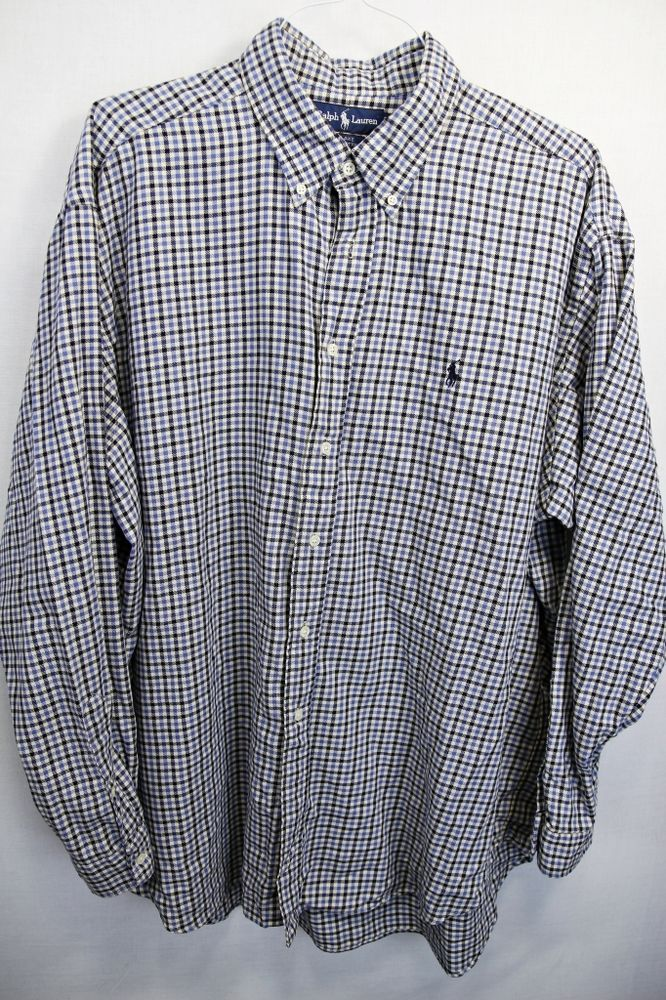 POLO RALPH LAUREN BUTTON DOWN 100% THICK COTTON SHIRT SZ XXL BLUE ...