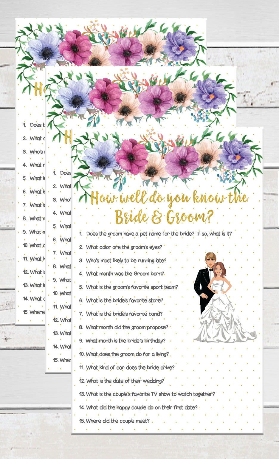 Gold, Bridal Shower Game, Do you know the Bride and Groom, Floral ...