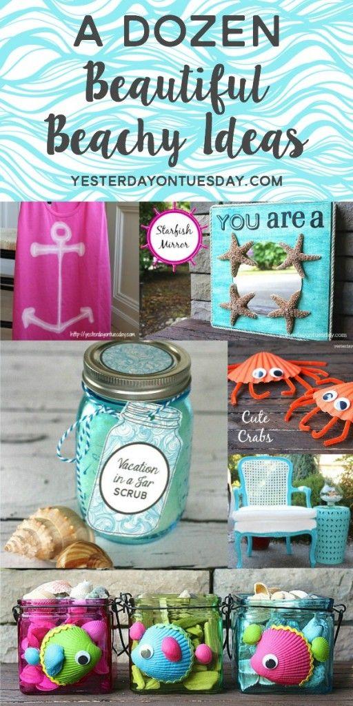 A Dozen Beautiful Beachy Ideas for crafts