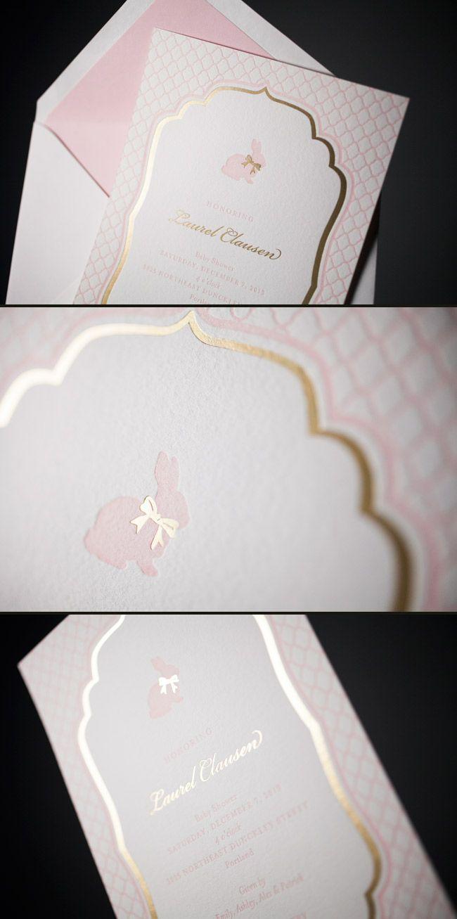 boy baby shower invitations australia%0A Pretty Pink and Gold Baby Shower Invitations by Smock