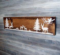 Woodland Deer Forest Wood Sign, Rustic Wood Nurser