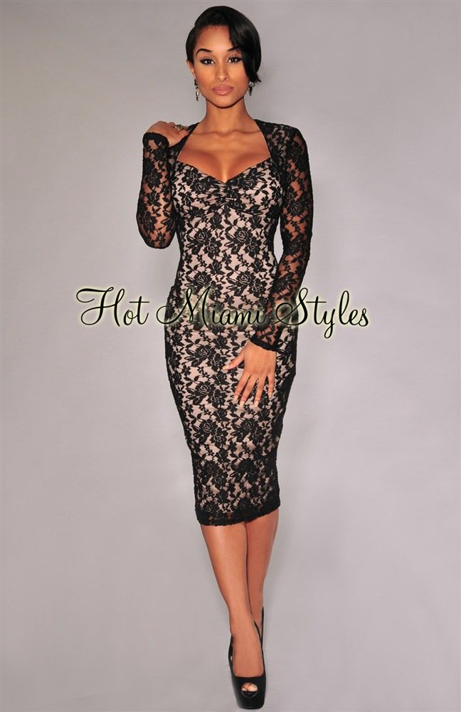 d5819226bc5 Black Lace Nude Illusion Long Sleeves Padded Midi Dress in 2019 ...
