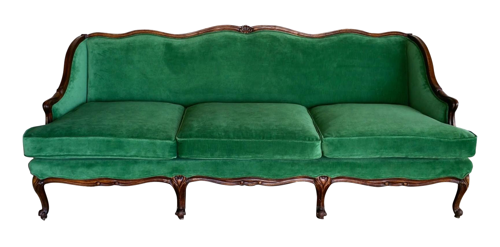 Gorgeous Emerald Green Velvet Sofa, Newly Upholstered. Bergere Style With Wood  Trim All Around.