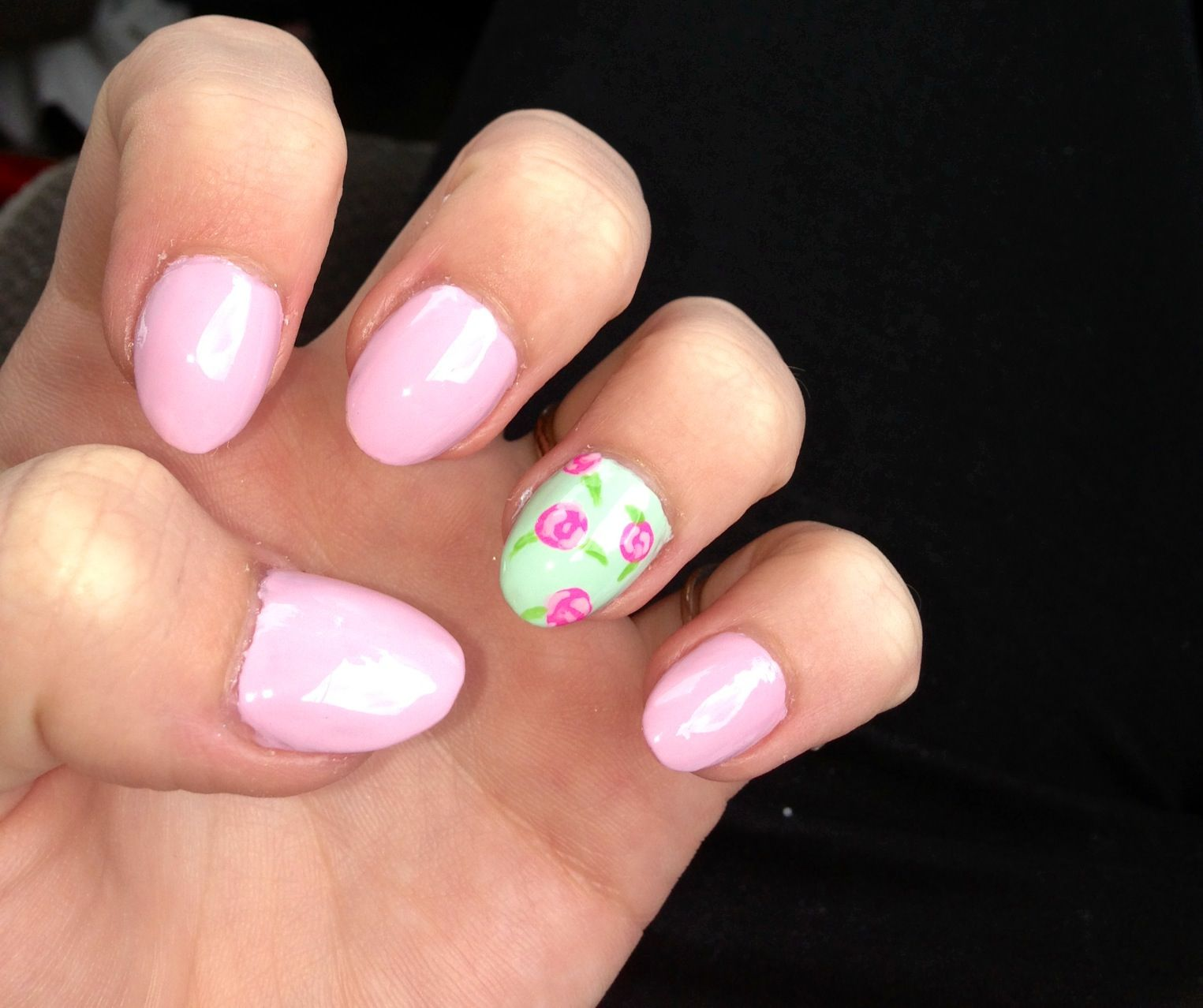 Acrylic Nails Fashion Design Flowers Green Pink almond shaped luv ...
