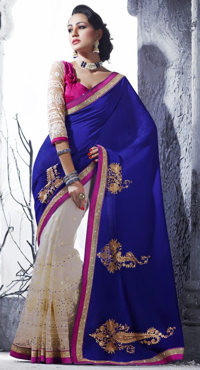 Ethnic Off White & Royal Blue Embroidered Saree