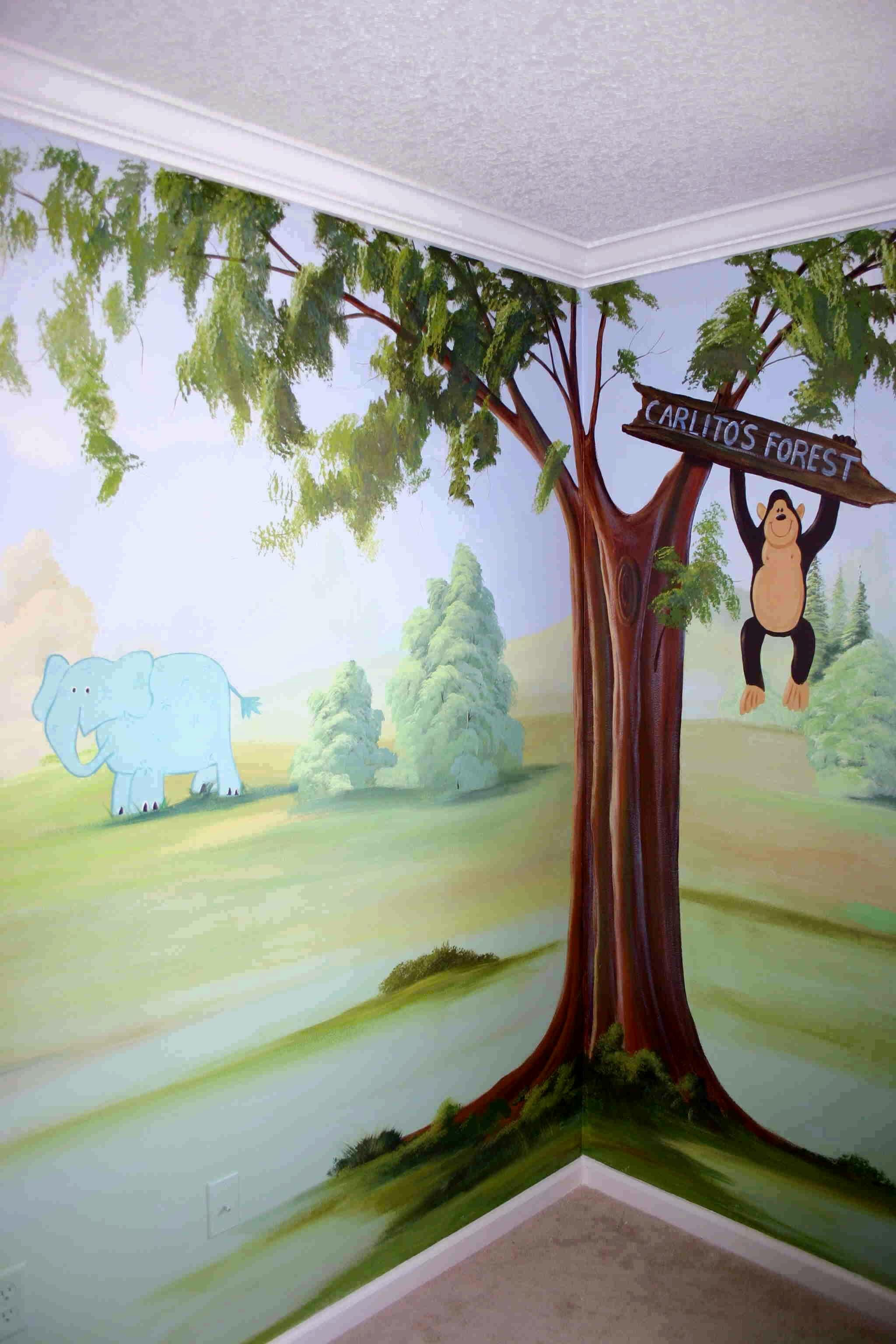 Carlito S Forest Tree Wall Painting Childrens Murals Mural