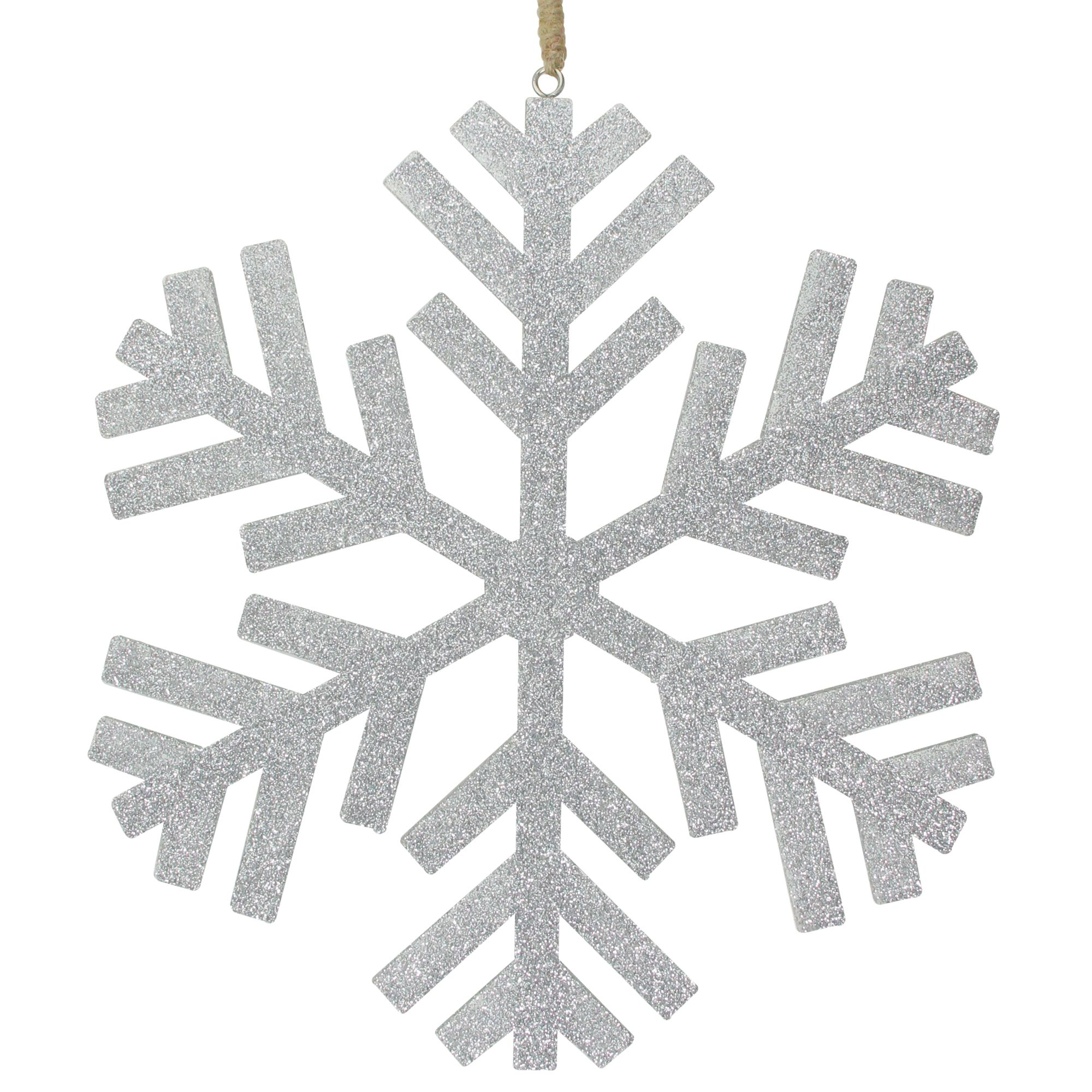 11 75 Silver Glitter Drenched Snowflake Hanging Christmas Ornament Wooden Snowflakes Snowflake Shape Christmas Snowflakes Ornaments