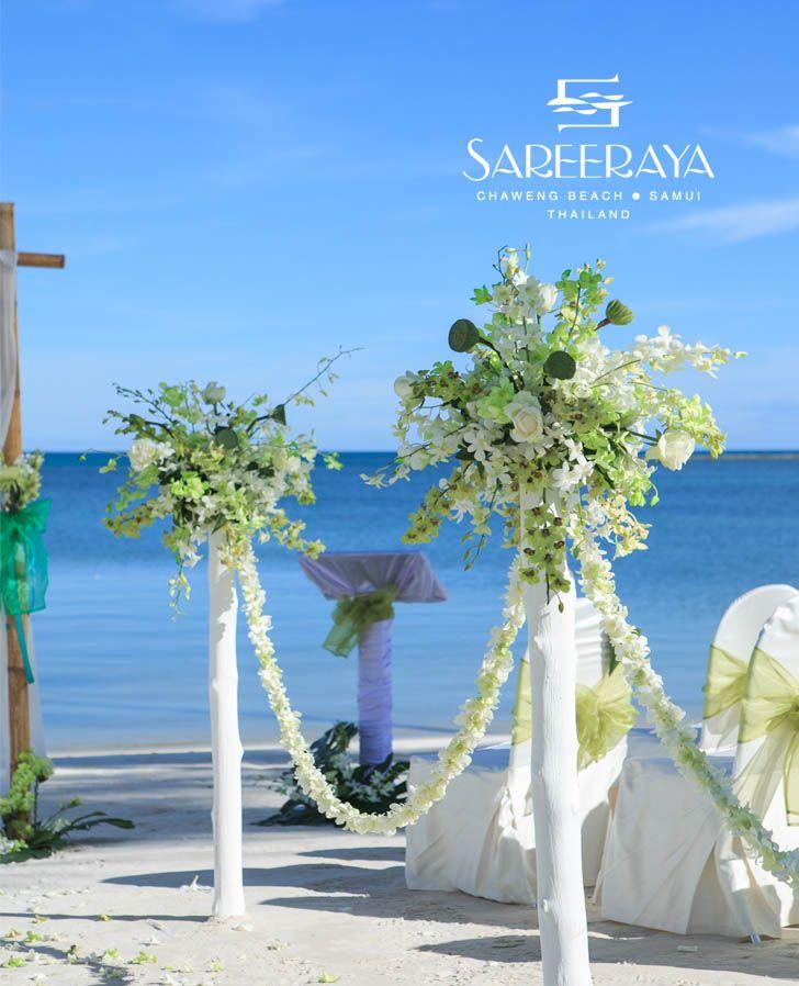 White & green wedding aisle flower stands | Sareeraya - Wedding ...