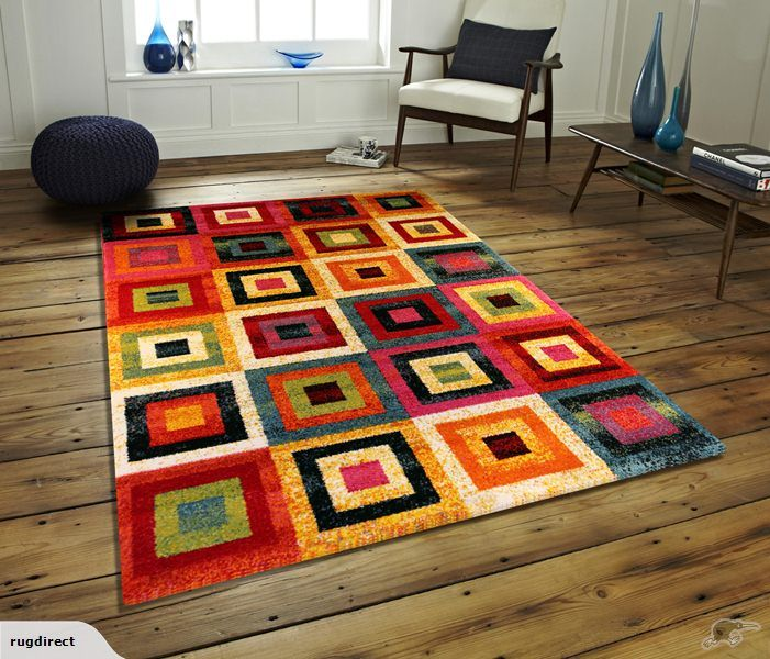 Multi Coloured Squares Turkish Rugs Persian Rug Colorful Modern