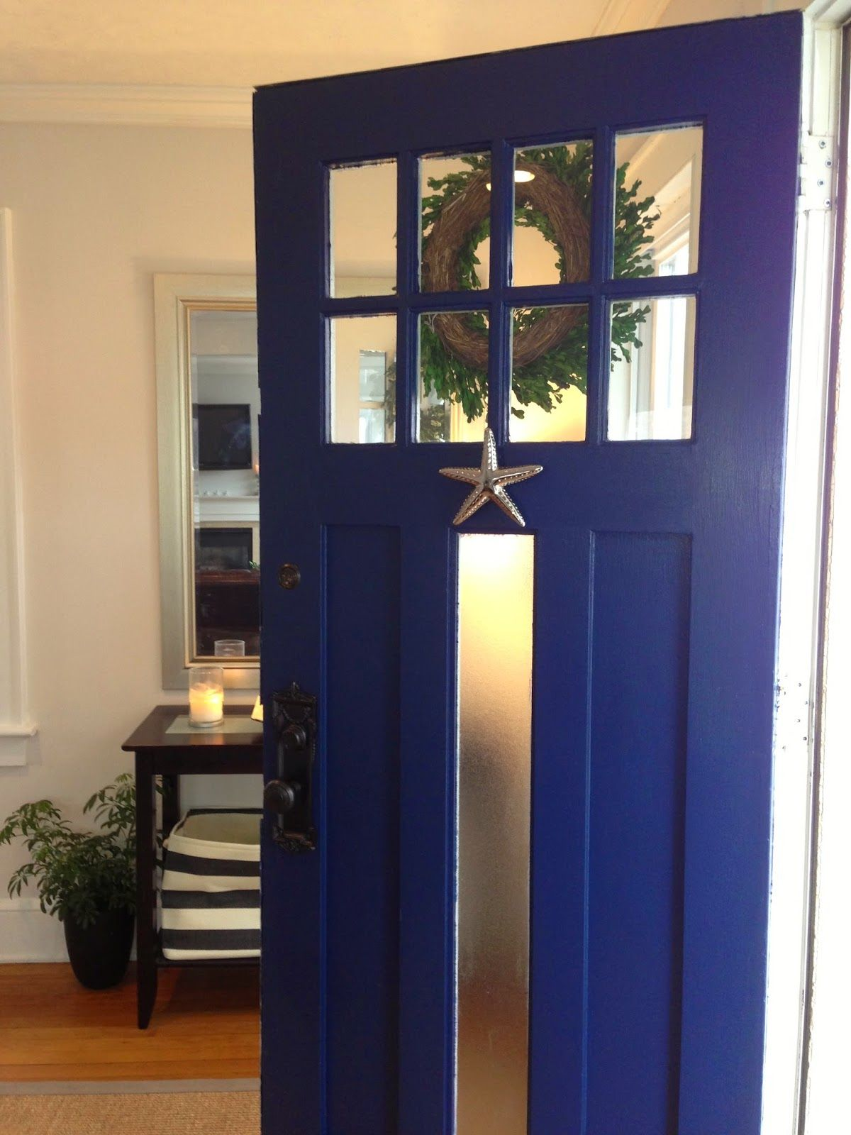 Marcie reid designs coastal front door paint color is old navy a coastal front door painted with sherwin wiliams old navy with a starfish door knocker from michael healy by marcie reid rubansaba