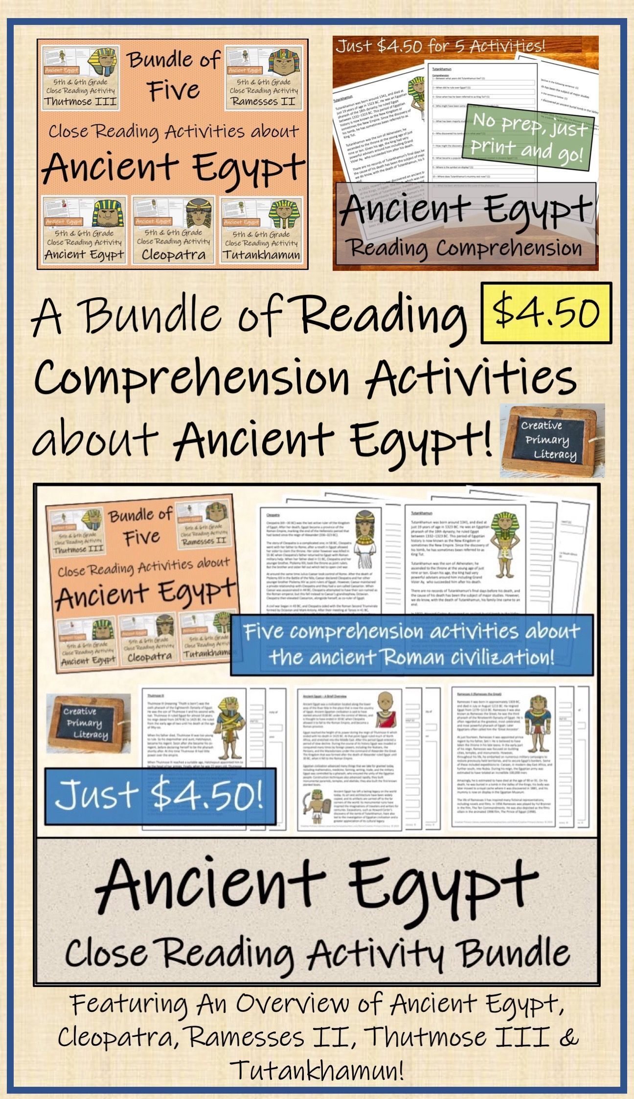 Bundle Of Five Close Reading Activities About Ancient