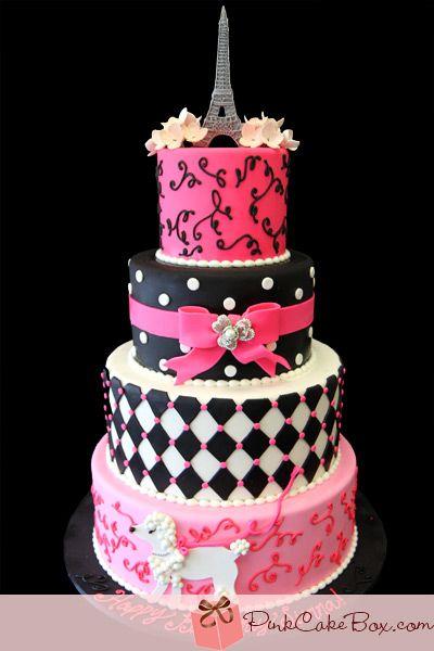Parisian Themed 1st Birthday Cake