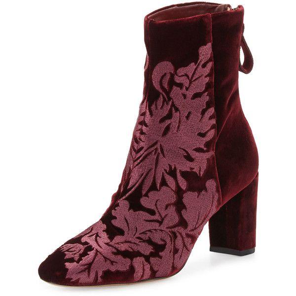 ALEXANDRE BIRMAN Regina embroidered velvet ankle boots 9VDP4