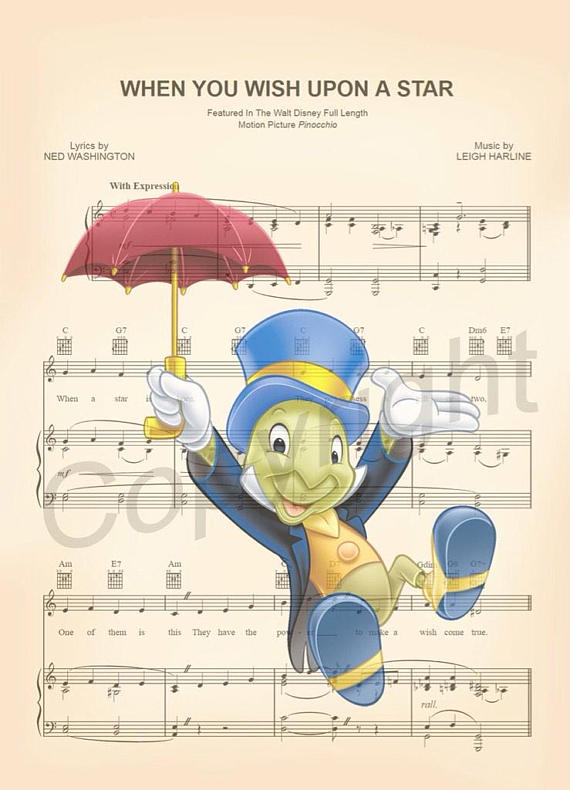 Here Is A Sheet Music Art Print Of Jiminy Cricket From Disneys Pinocchio This Is Perfect For Any Jiminy Cricket Jiminy Cricket Music Art Print Sheet Music Art
