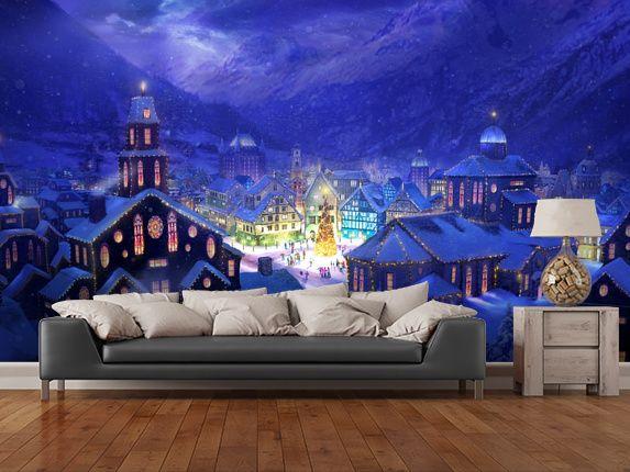Christmas Town Wall Mural Wall murals Walls and Room set