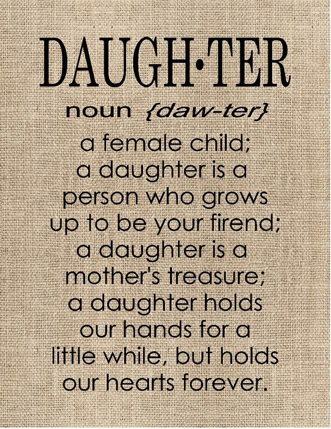 Personalised Definition Of Mum Print: Personalized Daughter Definition- Wood Sign, Canvas Wall