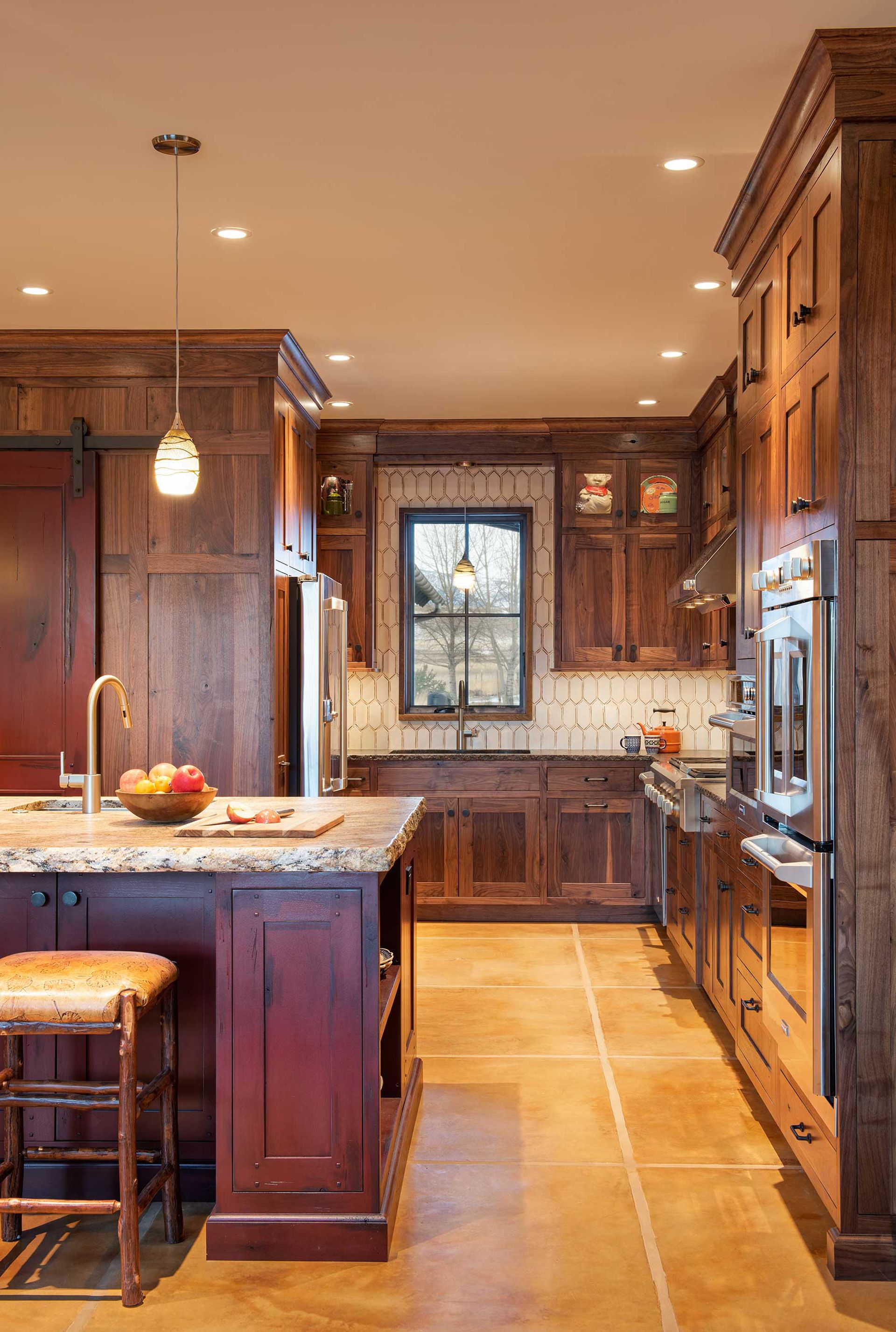 Rustic Kitchen Design With Walnut Cabinets In Mountain Home In 2020 Rustic Kitchen Design Walnut Cabinets Rustic Kitchen
