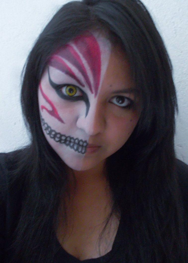 Ichigo S Hollow Mask Makeup By Yeikalee Mask Makeup Makeup Halloween Face Makeup