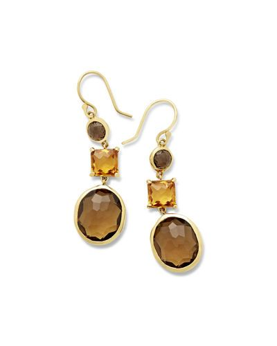 Ippolita 18K Rock Candy 3-Stone Drop Earrings in Midnight Rain 0pZAj3U