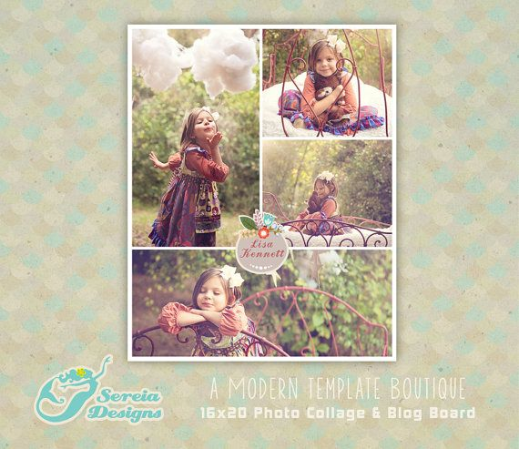 Photoshop Template 16x20 Photo Collage  Blog Board Collage - S0053