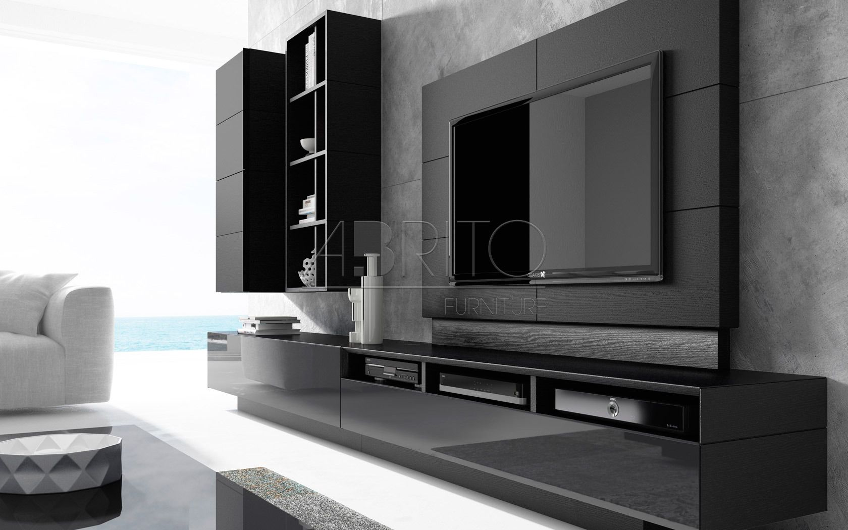 Abrito Ginza Tv Wall Pinterest Tvs Tv Unit And Tv Walls # Tv Showcase In Wall
