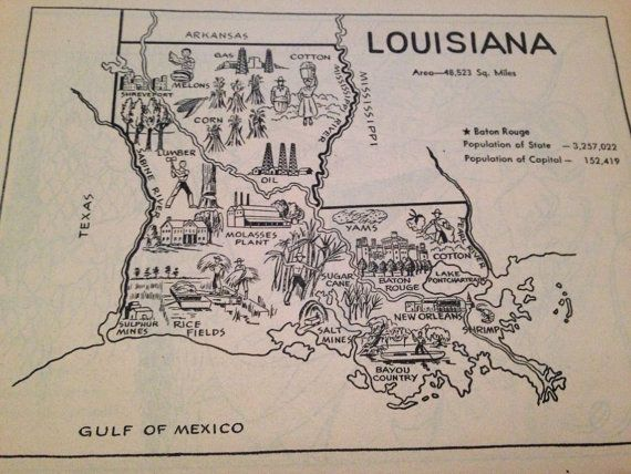 1950s Louisiana Coloring Book Page on Etsy 600 State