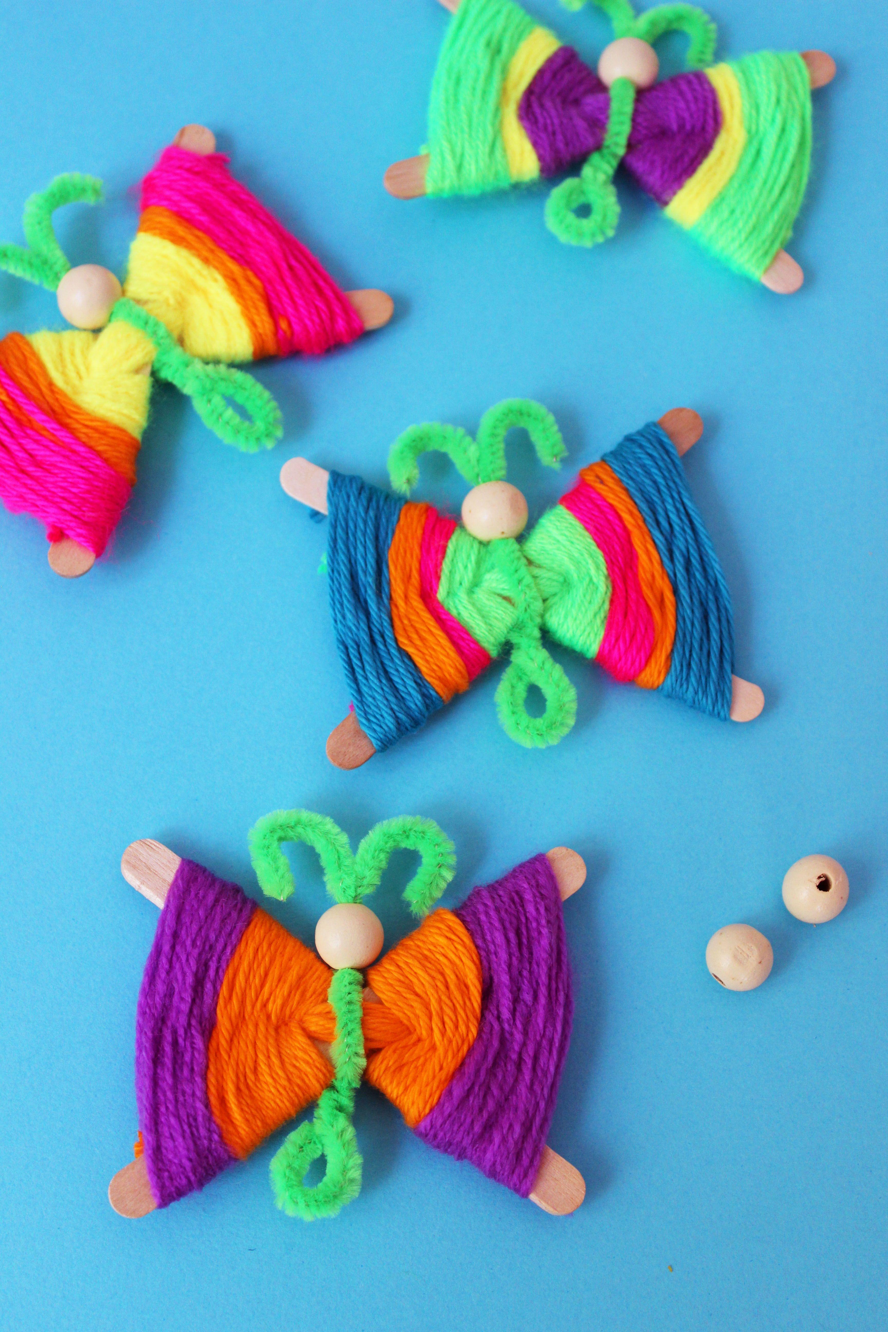 Popsicle Stick Kids Crafts Yarn Crafts For Kids Butterfly