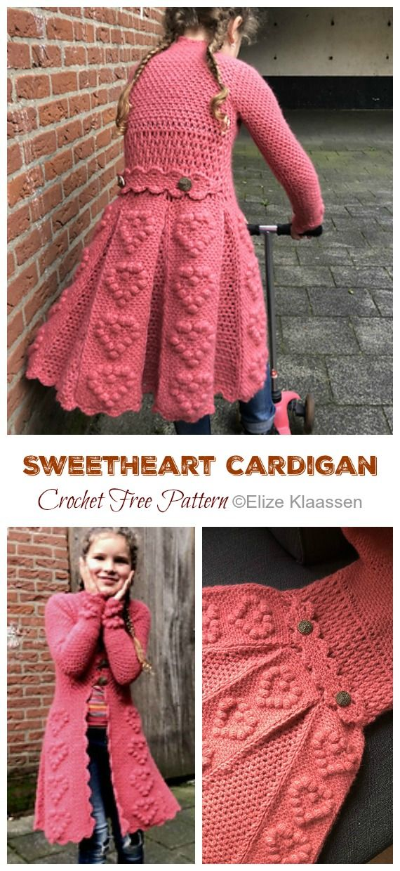 SweetHeart Girl Cardigan Crochet Free Pattern - Crochet & Knitting