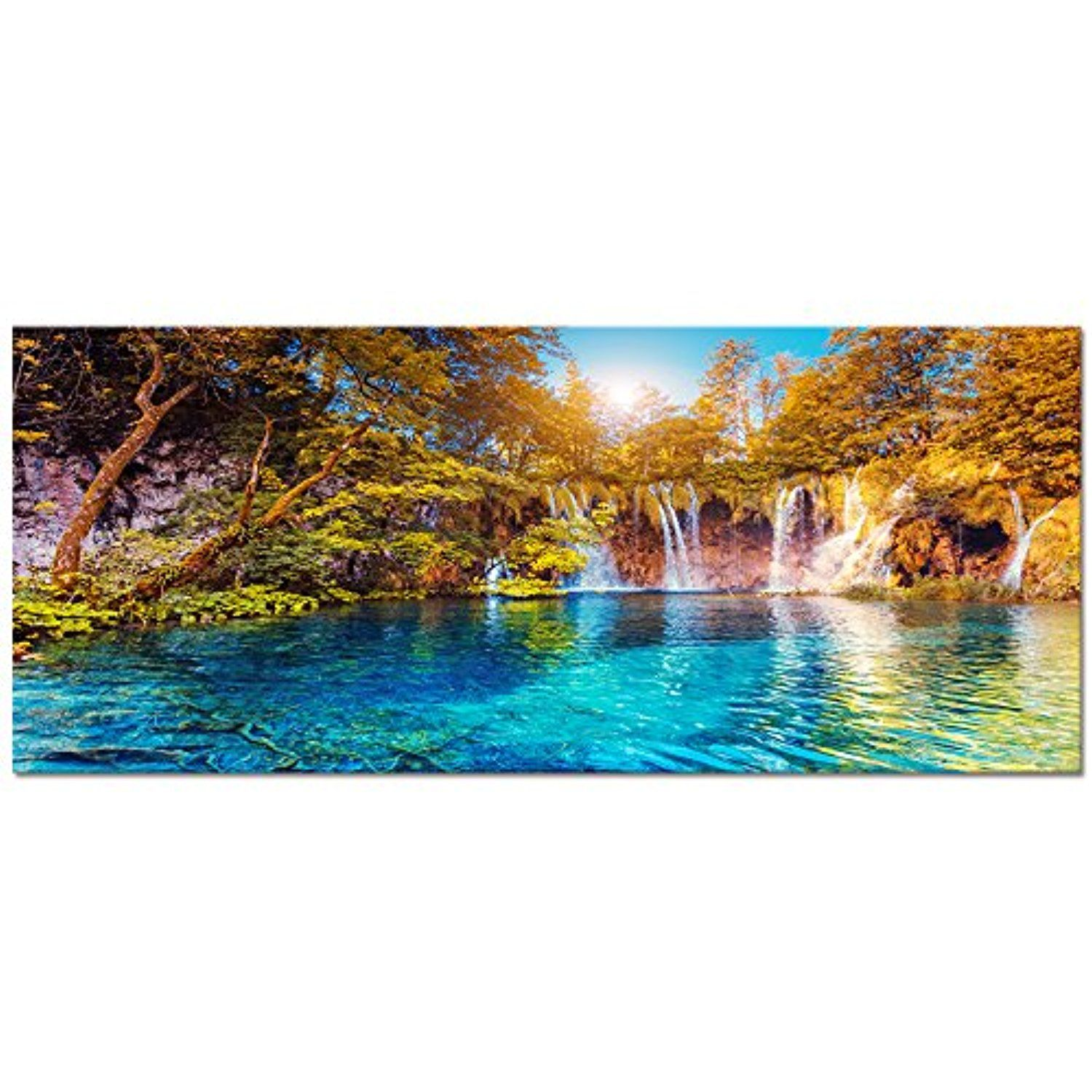 Visual Art Decor Xlarge Nature Autumn Forest Landscape Canvas Wall Art Blue Crystal Lake Scenery Painting P Scenery Paintings Forest Landscape Landscape Canvas