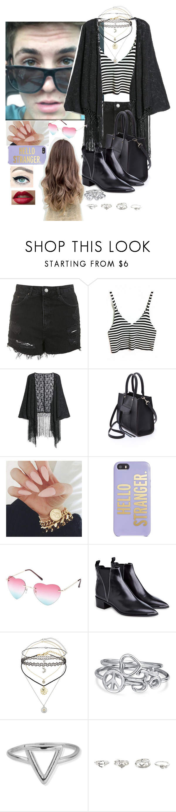 """""""Movies with Sammy"""" by sherifagrier ❤ liked on Polyvore featuring Topshop, MANGO, Rebecca Minkoff, Kate Spade, Charlotte Russe, Acne Studios, Miss Selfridge, Bling Jewelry and ChloBo"""