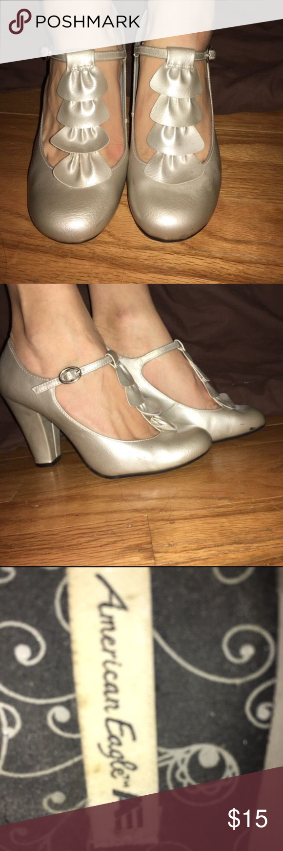 "Vintage Inspired Worn once. Comfortable!! ..... about a 3"" heel ... full silver/ champagne color American Eagle by Payless Shoes Heels"