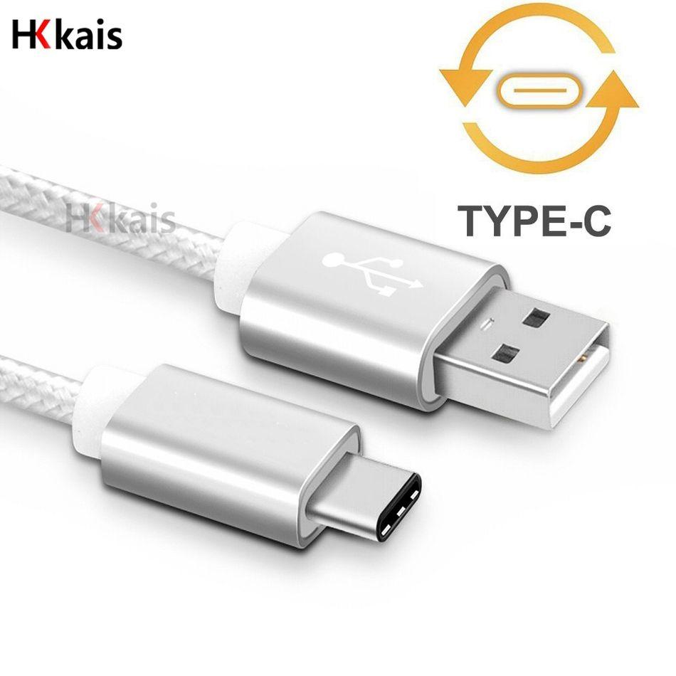 HKkais USB c 형 케이블 금속 유형 C 플러그 USB-C 나일론 라인 휴대 전화 케이블 huawei p9 맥북 xiaomi nokia lg