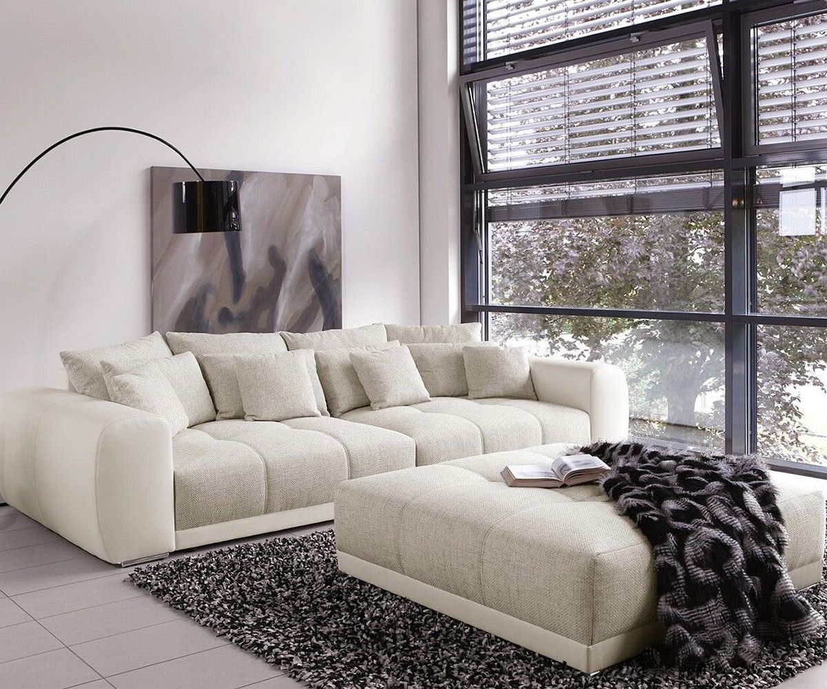 big sofa valeska 310x135 mit hocker grau cremeweiss big sofas apartments and interiors. Black Bedroom Furniture Sets. Home Design Ideas