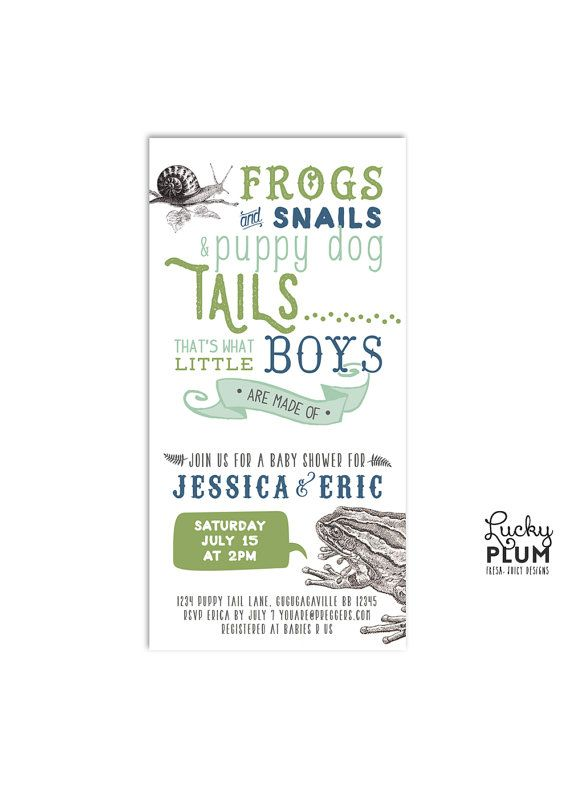 Frogs Snails Puppy Dog Tails Baby Shower Invitation Coed Invite Modern Boy Animal Blue Green Digital File