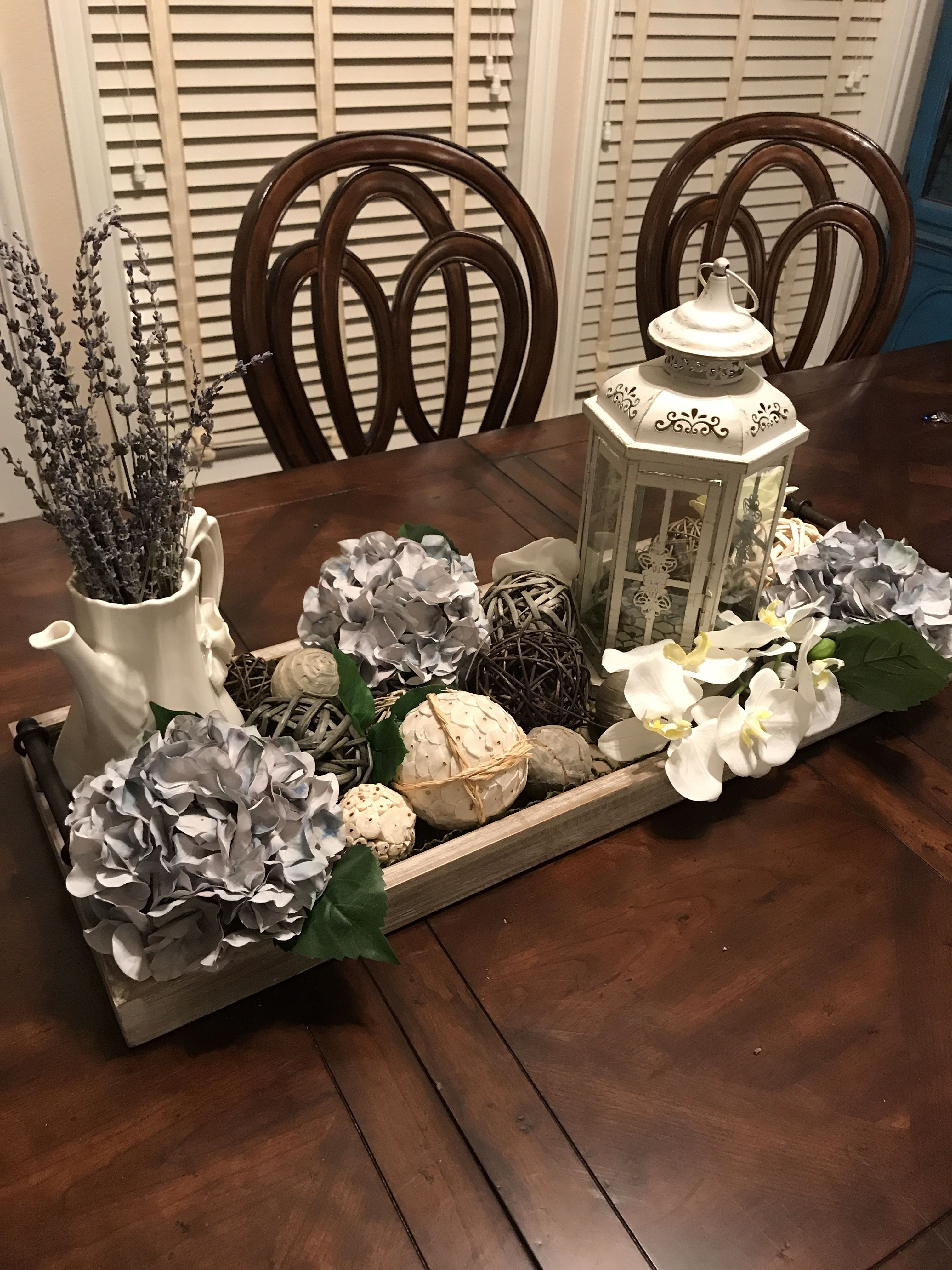 Dining Table Center Piece Turned Out Beautifully Purple Hydrangeas Lavender Table Centerpieces For Home Dinning Table Decor Dining Table Decor Centerpiece