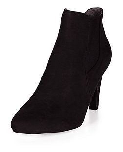 Wide Fit Black Pointed Heeled Chelsea Boots | New Look
