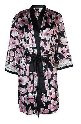 33dd28845f0 Ladies Ex - M S Summer Kimono Dressing Gown Robe 8-20 Black Pink Floral Wrap