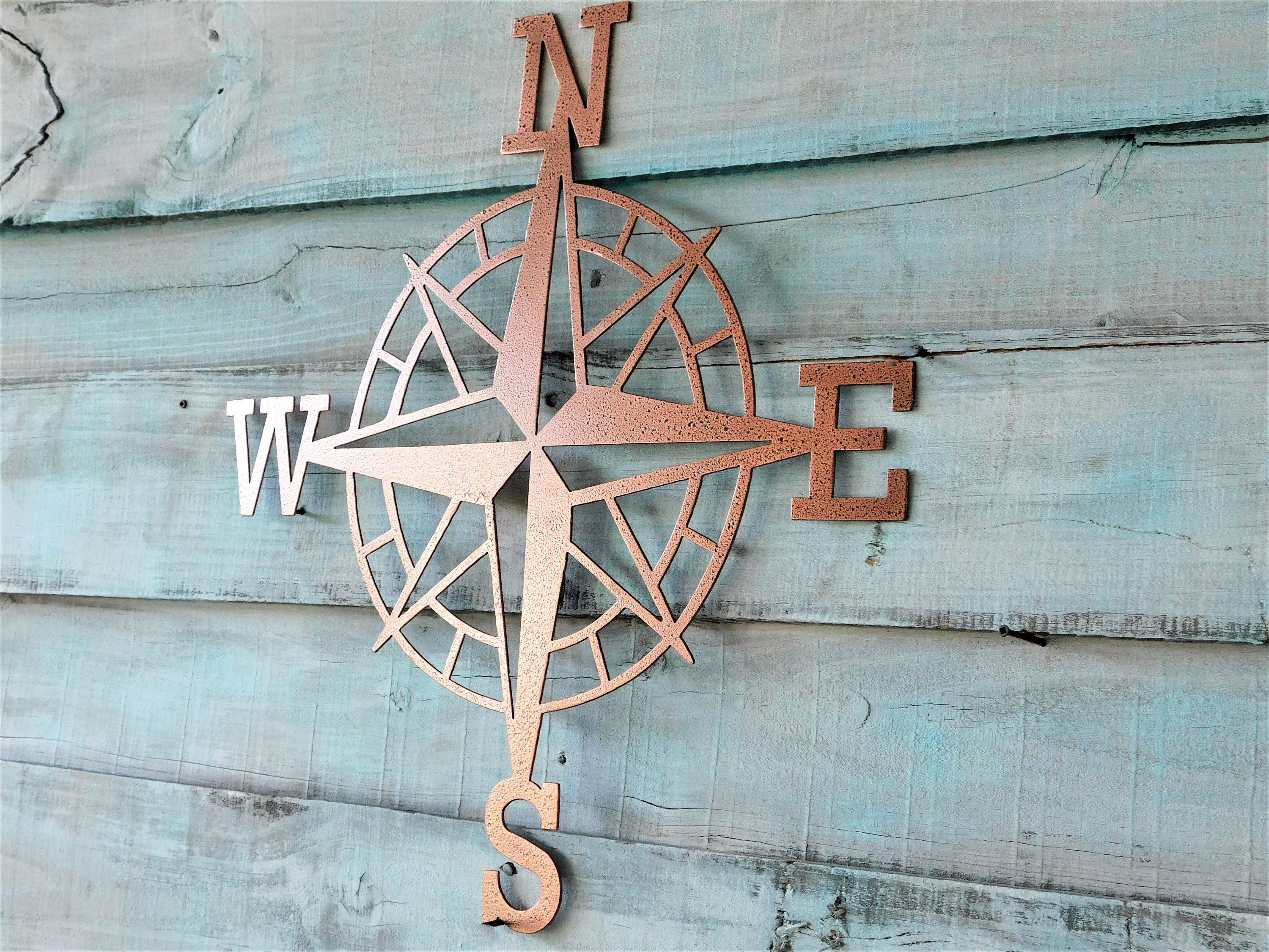Compass Compass Wall Art North South East West Nautical Decor Metal Wall Art Gift For Travelers Lake Compass Wall Art Lake House Decor Beach House Decor