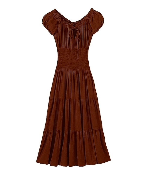 Look at this Peach Couture Brown Tiered Peasant Dress on #zulily today!