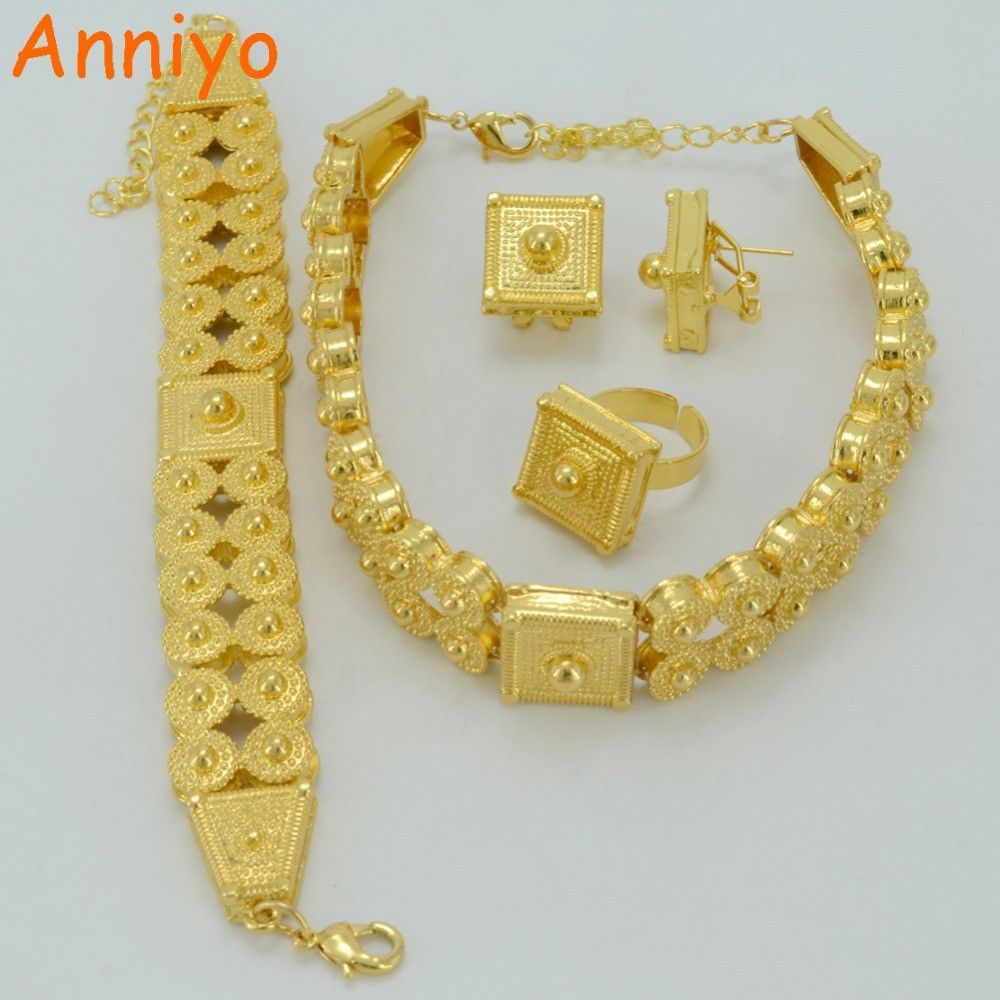 Anniyo ethiopian gold jewelry set gold color chokers necklace