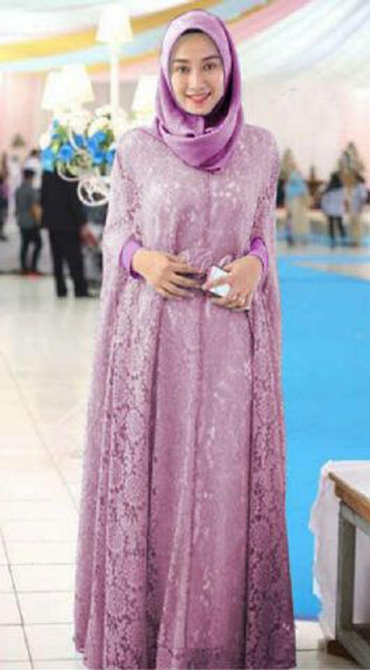Gamis Brokat Pesta Renita Kaftan Terbaru Ungu Jpg 530 960 Busana Islami Gaya Abaya Model Pakaian