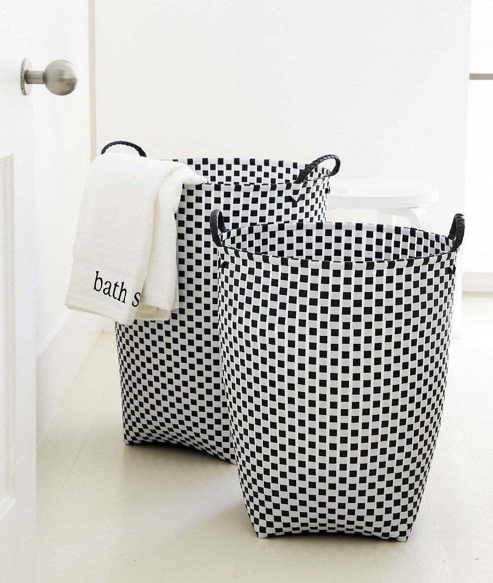 Lovely Laundry Bags And Baskets Part - 11: Stylish Monochrome Laundry Basket Made From Woven Plastic Strapping.