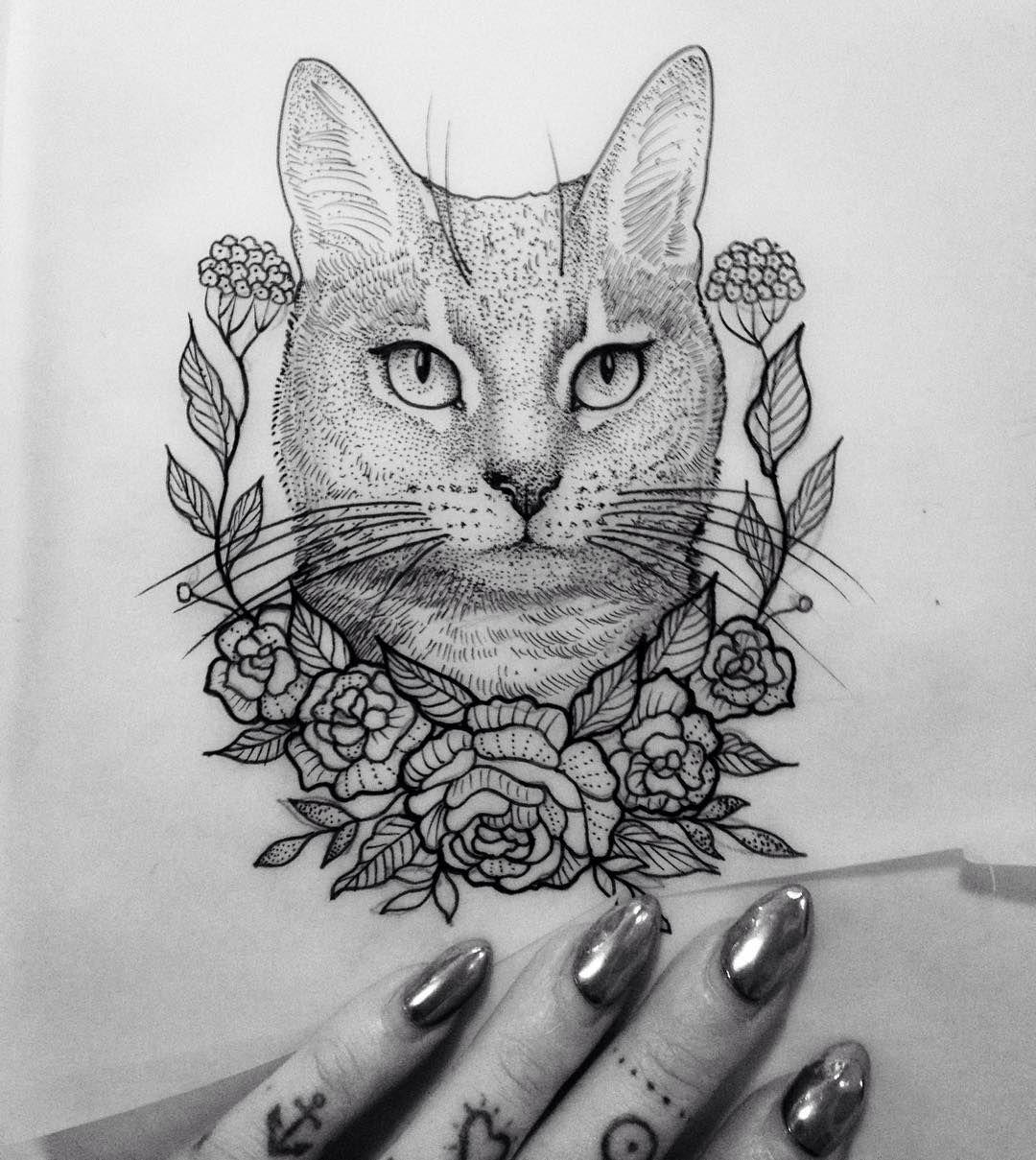 Illustration Cat Flower Dot Neotraditionel Neotraditional Neo Traditionel Draw Drawing Tattoo Ink Tattooe Cat Tattoo Designs Cat Tattoo Animal Tattoos