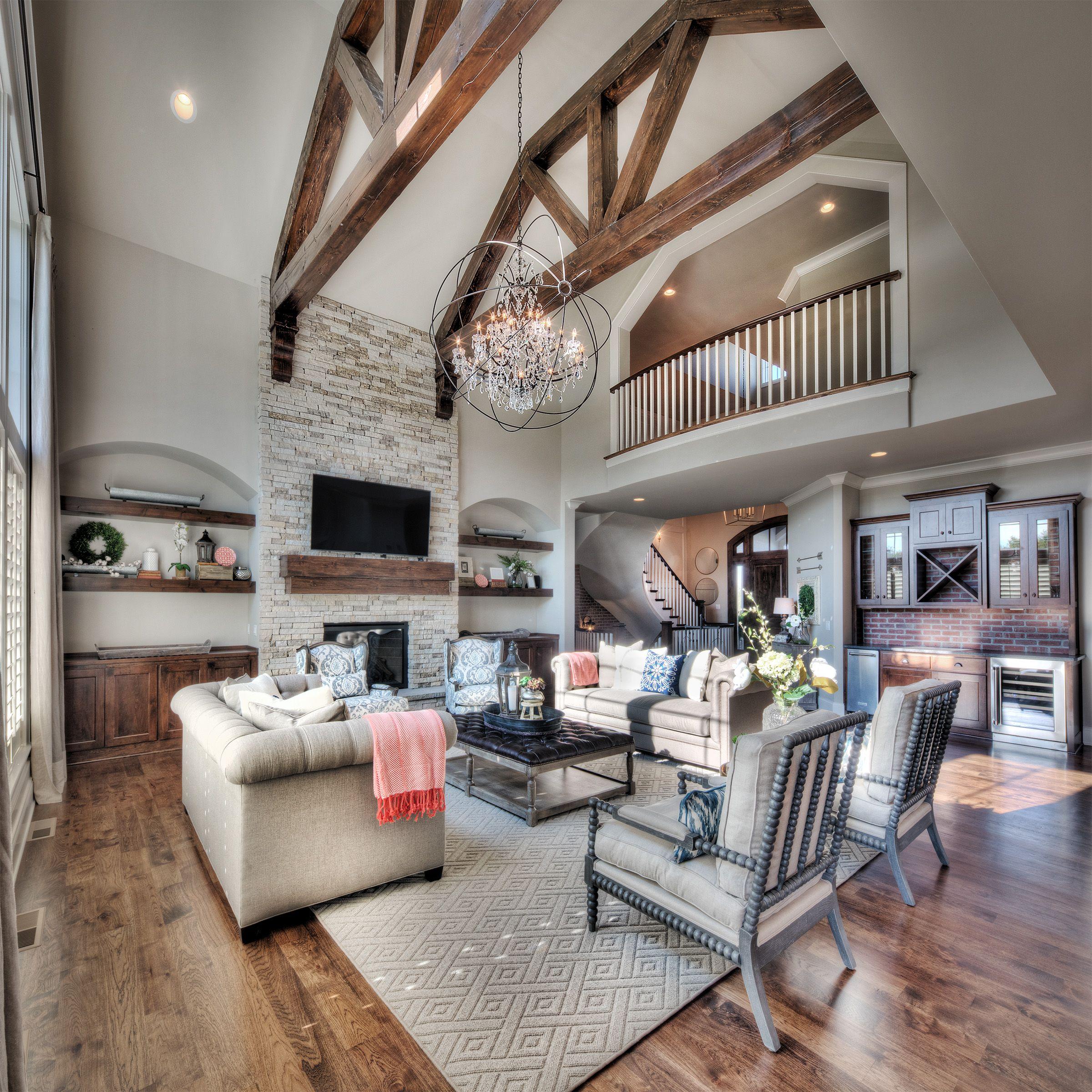 Living Room, Stone Fireplace, Hardwood Floors, Second Floor Overlook ...