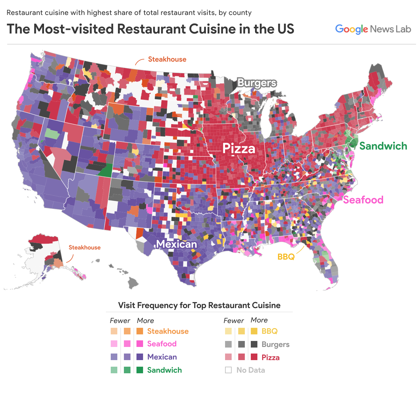 The Mostvisited Restaurant Cuisine In US Counties Maps - Counties visited map