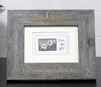 established family name engraved personalized wood frame wedding