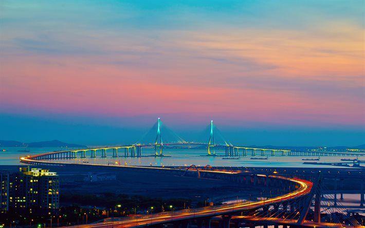 Download Wallpapers Incheon Sunset Incheon Bridge Skyline Korea Besthqwallpapers Com Bridge City Incheon Travel South