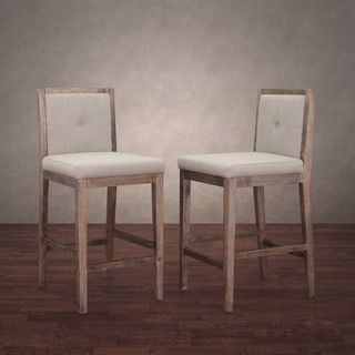 Cool Patterson Beige Linen Counter Stools Set Of 2 Overstock Gmtry Best Dining Table And Chair Ideas Images Gmtryco